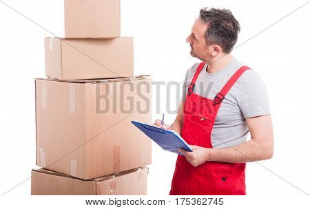 Mover Guy Counting Or Writing On Clipboard