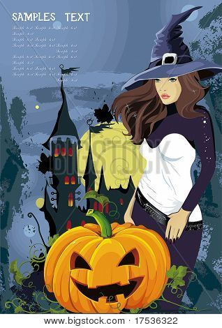 Vector illustration of young witch with pumpkin at Halloween night. Abstract Classical congratulation poster for design with Place for your text.