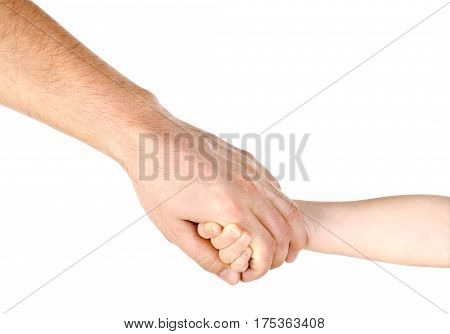Child holding father's hand isolated on a white