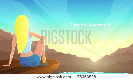 Beautiful girl sits on mountain ledge. Woman looks at sunrise among mountains. Vector illustration. Web banner on the theme of summer vacation.