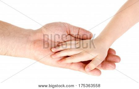 Father's hand holding child hand isolated over white