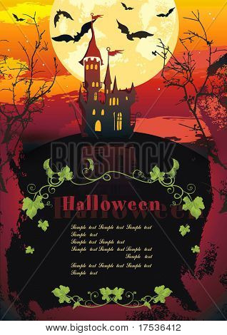Halloween terrible Vector background with Place for your text. Abstract Classical autumn card with bat and castle