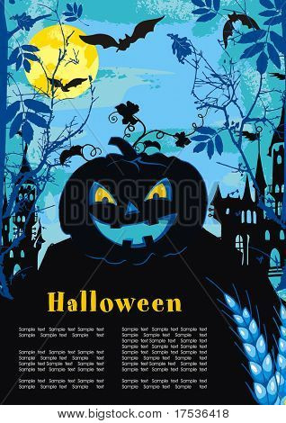 Halloween terrible Vector background with Place for your text. Abstract Classical autumn card with pumpkin and castle. poster