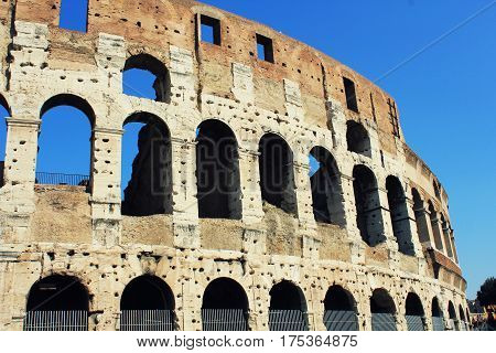 The iconic ancient Colosseum of Rome , Italy
