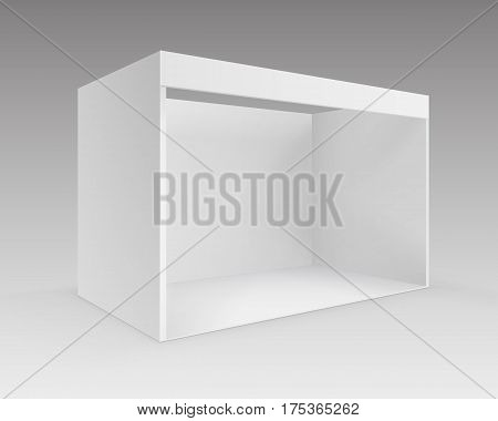 Vector White Blank Indoor Trade exhibition Booth Standard Stand for Presentation in Perspective Isolated on Background