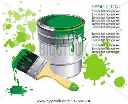 Vector buckets of paint. Stylish bright Illustration of painting brushes. Beautiful poster for design with Place for your text.