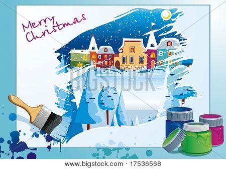Brush drawing winter nature. Stylish bright Illustration of painting brushes. Beautiful poster for design with houses and snow. New-Year's winter background with Christmas tree.