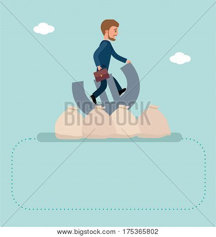 Concept flat vector business illustration. Stock exchange. Financial Rodeo. Young broker riding a Euro sign, he's trying to resist. Concept banner
