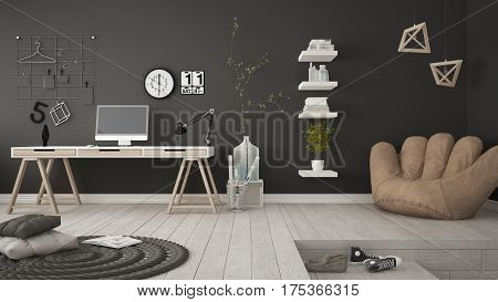 Residential Multifunctional Room With Home Office, Workplace, Scandinavian Minimalist Interior Desig