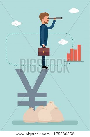 Concept flat vector business illustration. Stock exchange. Stock broker. Businessman standing on yen sign and looking through a telescope. Analyzes the market