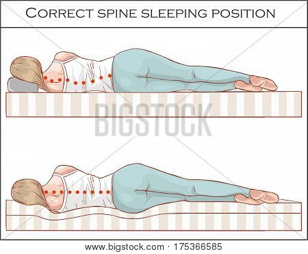 vector illustration of a Correct spine sleeping position