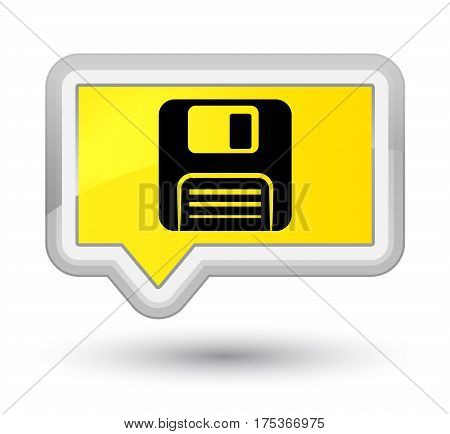 Floppy Disk Icon Prime Yellow Banner Button