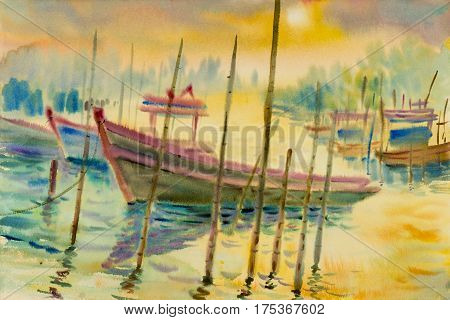 Abstract watercolor seascape original painting colorful of reflections on the water fishing boat and emotion in yellow light and cloud bottom background.  Hand painted Impressionist, abstract image,illustration,  nature summer season.