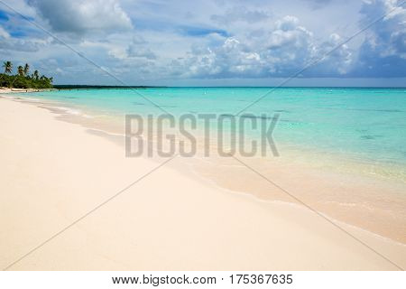 Beautiful Caribbean sea and green palm trees. Summer sea landscape as a background.White sand beach and Caribbean sea.