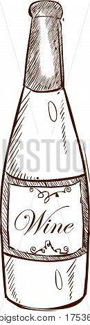 Wine bottle vector illustration on white ground floor