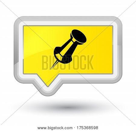Push Pin Icon Prime Yellow Banner Button