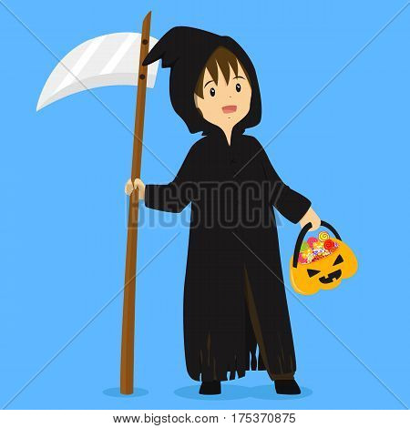 a boy wearing grim reaper costume for Halloween party, carrying grim reaper sickle and pumpkin bucket full of candies vector illustration