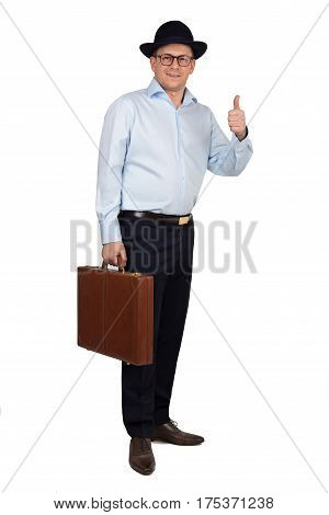 Full Length Portrait Of Young Businessman With Hat And Glasses Wearing Blue Shirt And Trousers. Hold
