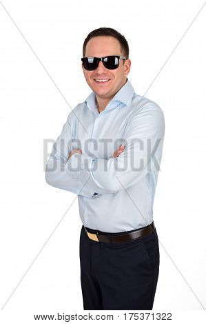 Young Businessman With Cheerful White Teeth Smile In Formal Shirt And Trousers Wears Black Trendy Su