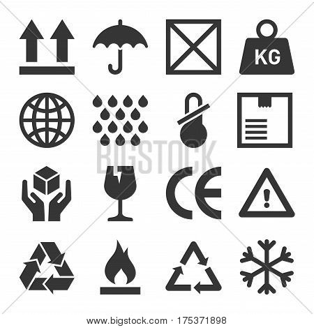 Packaging and Shipping Symbols Set. Vector illustration
