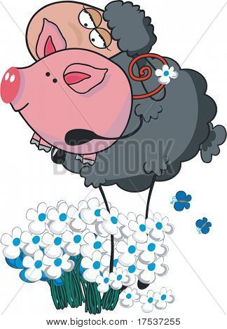 sheep and pig in flowers