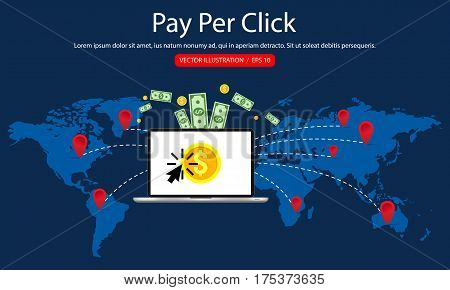 Pay Per Click, Mobile Payments, Online Banking, Money Transfer. Vector Illustration.