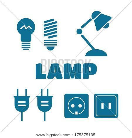 Lamp and bulbs black vector icons set. Electrical symbols. Bulb energy electric lamp icon