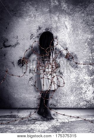 Ghost woman with barbed wire,Scary background for book cover