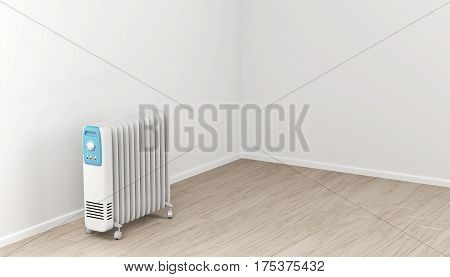 Oil-filled electric heater in the room, 3D illustration