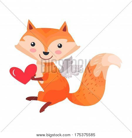 Fox with angel wings holds red heart in paws isolated on white. Sexy vixen with bushy tail. Cute cartoon animal post card design. Valentines day concept vector illustration in flat style