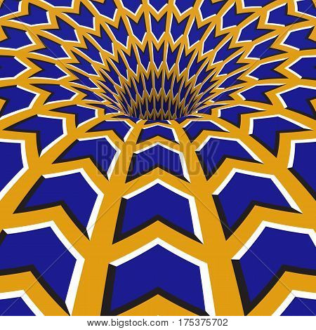 Blue arrows hole. Optical motion illusion illustration.