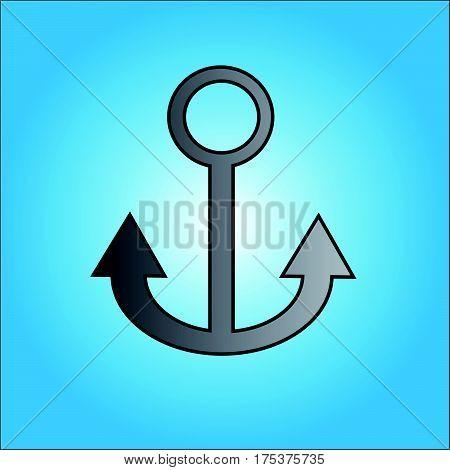 Grey anchor on blue backgraund. Vector illustration.