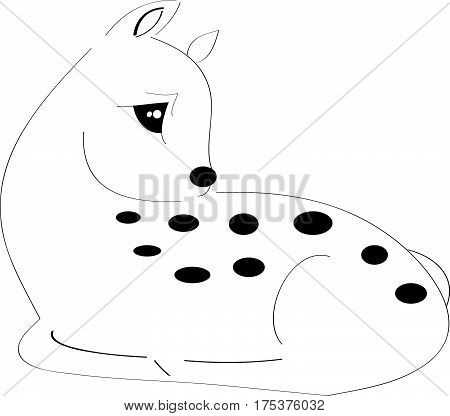 Sleeping fawn on white background.Vector illustration. Eps10
