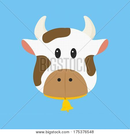brown and white cow with bell vector illustration in blue background