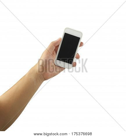 Mobile phone in hand isolated on white background and have clipping paths to easy deployment.