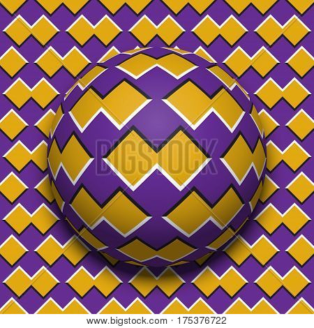 Patterned ball rolling along the same surface. Abstract vector optical illusion illustration. Motion background and tile of seamless wallpaper.