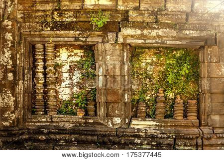 Wat Phu in Southern Laos - On top of the mountain - Windows on Side facade of the sanctuary