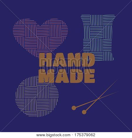 Hand drawn yarn for knitting. Knit and handmade, craft and ball, needle and hobby