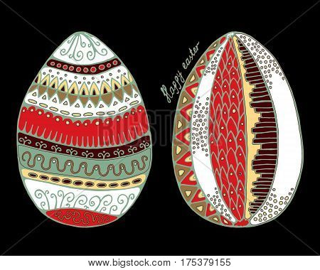 Stock Vector Set Of Cartoon Hand Draw Easter Eggs  With Leaf And Flower. Background. Template For Ca