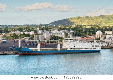 Port Louis Mauritius - December 12 2015: Passenger General Cargo Ship Mauritius Trochetia in import export and business logistic at Trade Port Louis Mauritius.