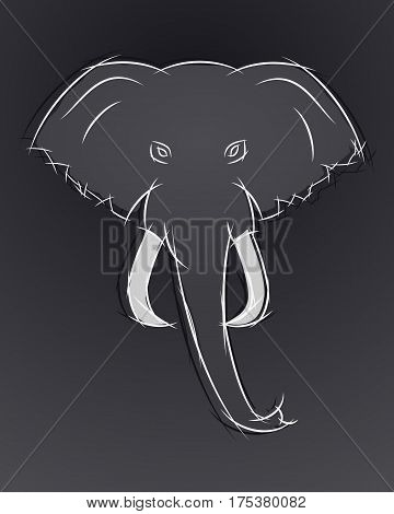 Elephant Head Front View. This Icon May Be Used For Your Logo