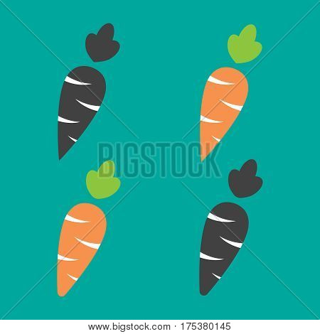 Carrot vector icon cartoon style isolated on white background. Carrot vector illustration. Carrot isolated black and color icons