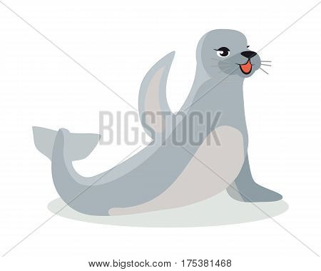 Harbor seal cartoon character flat vector isolated on white background. Arctic fauna species. Animal illustration for zoo ad, nature concept, children book illustrating