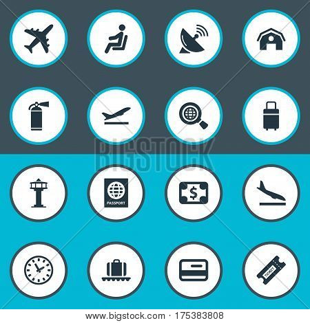Vector Illustration Set Of Simple Plane Icons. Elements Garage, Alighting Plane, Antenna And Other Synonyms Aircraft, Sitting And Takeoff.