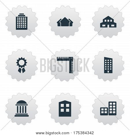 Vector Illustration Set Of Simple Structure Icons. Elements Residential, Floor, Flat And Other Synonyms Domicile, Downtown And Shanty.