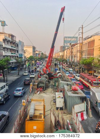 BANGKOK, THAILAND - March 2, 2017 : Traffic under construction BTS green line in Bangkok Thailand.