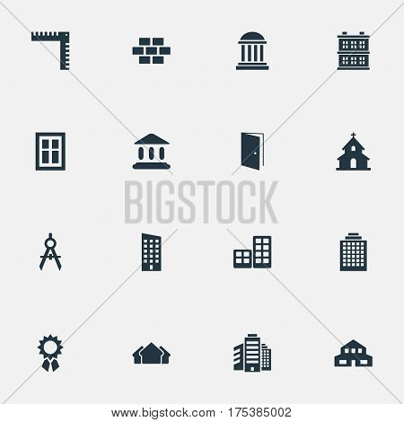 Vector Illustration Set Of Simple Architecture Icons. Elements Flat, Residential, Popish And Other Synonyms Ruler, Edifice And Superstructure.