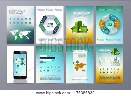 Vector set of eco infographic. World map, chat, buildings, transport diagram