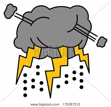 Thundershower cartoon or sign symbol, on white background