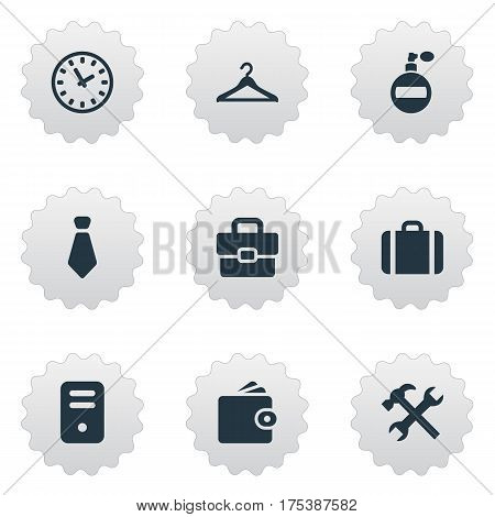 Vector Illustration Set Of Simple Accessories Icons. Elements Billfold, Repair, Briefcase And Other Synonyms Case, Bag And Hanger.